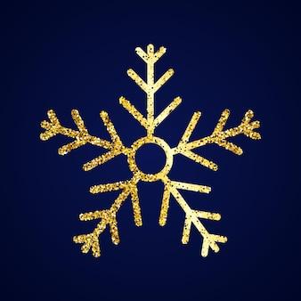 ダークブルーの背景にゴールドのグリッタースノーフレーク。クリスマスと新年の装飾要素。ベクトルイラスト。