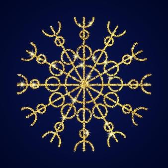 Снежинка золотой блеск на синем фоне. рождественские и новогодние элементы декора. векторная иллюстрация.