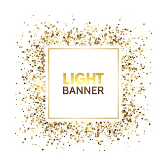 Gold glitter square frame with space for text