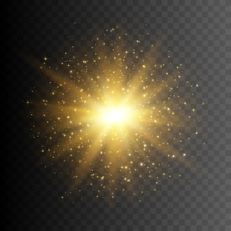 반짝임이 있는 골드 반짝이 스타 버스트