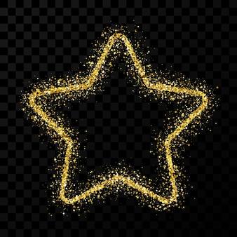 Gold glitter star with shiny sparkles on dark transparent background. vector illustration