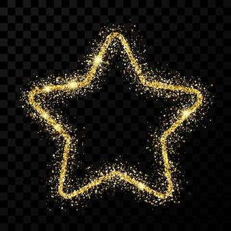 Золотая звезда блеска с блестящими блестками на темном прозрачном фоне. векторная иллюстрация