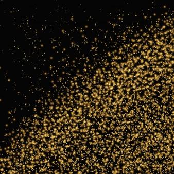Gold glitter texture on black background