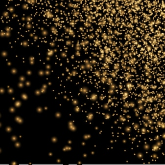 Gold glitter texture on black background