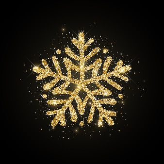 Gold glitter textured hand drawn snowflake on black background.  christmas, new year icon.