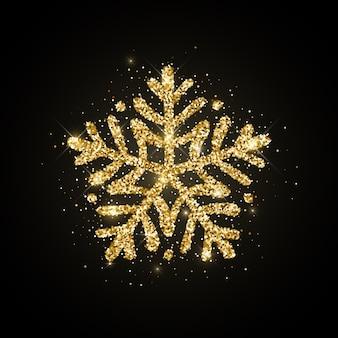 Золотой блеск текстурированной рисованной снежинки на черном фоне. рождество, новогодний значок.