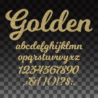 Gold glitter vector font, golden alphabet with lowercase letters, numbers and symbols