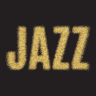 Gold glitter vector inscription jazz golden sparcle word jazz on black transparent background amber ...