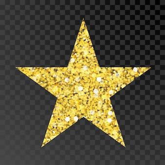 黒の透明な背景の琥珀色の粒子にゴールドのキラキラベクトル星ゴールデンスパークルスター Premiumベクター