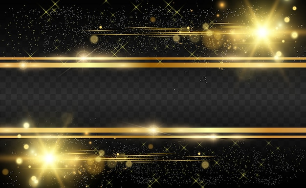 Золотой глиттер с блестящей золотой раме на прозрачном черном фоне. роскошный золотой фон.