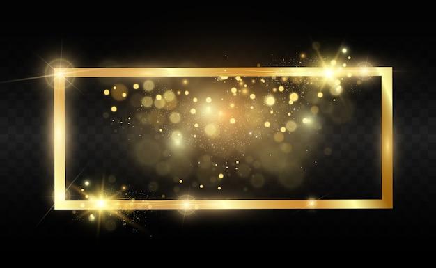 透明な黒の背景に光沢のあるゴールドフレームとゴールドラメ。豪華な金色の背景。