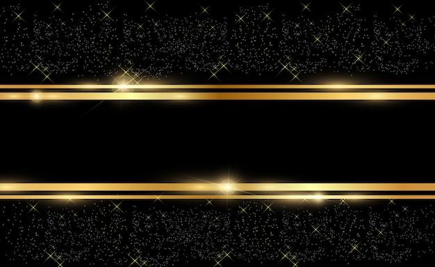 透明な黒の背景に光沢のあるゴールドフレームとゴールドのキラキラ。豪華な黄金の背景。