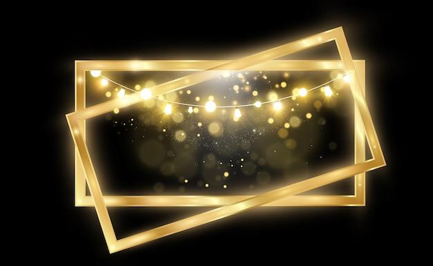 透明な黒の背景に光沢のあるゴールドフレームとゴールドのキラキラ豪華な金色の背景