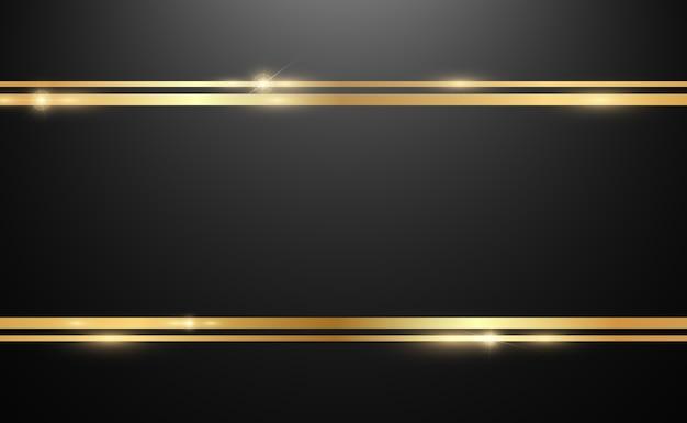 透明な黒の背景に光沢のあるゴールドフレームとゴールドラメ。高級黄金のベクトルの背景。