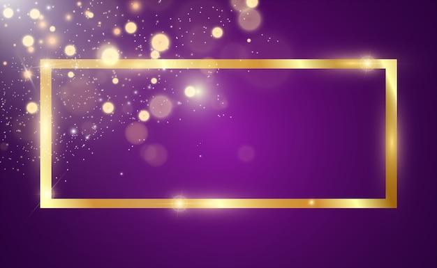 Золотой блеск с блестящей золотой рамкой на прозрачном черном фоне