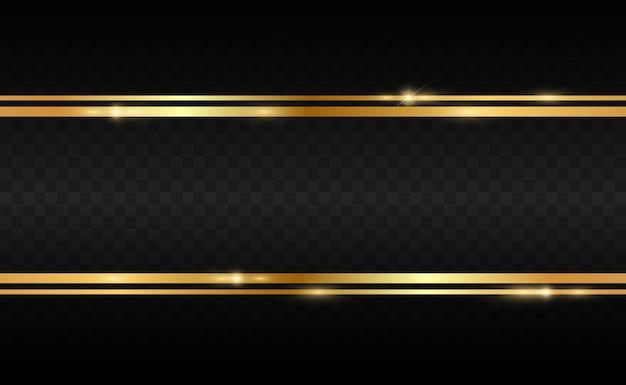 透明な黒の背景に光沢のあるゴールドフレームとゴールドのキラキラ。