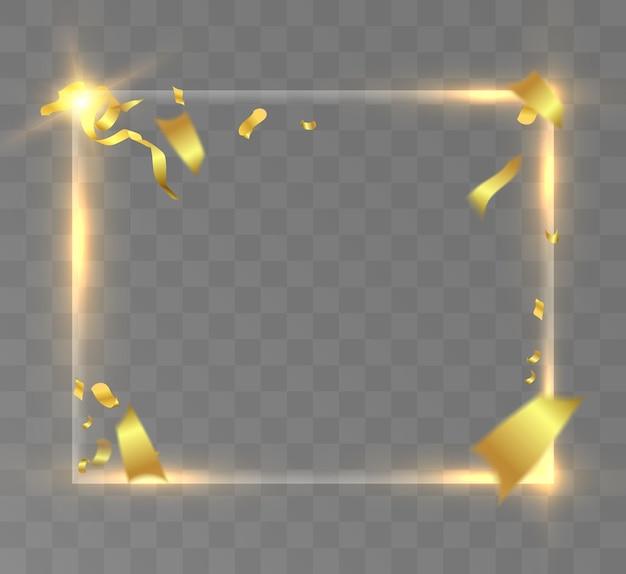 투명한 검정색 배경에 반짝이는 금색 프레임이 있는 금색 반짝이