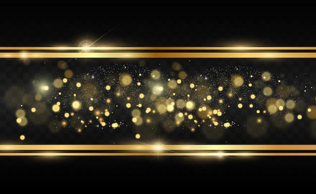 Gold glitter with shiny gold frame on a transparent black background.  luxury golden background.