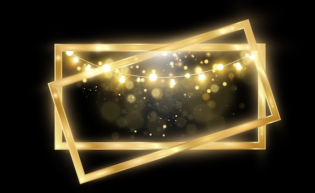 Gold glitter with shiny gold frame on a transparent black background luxury golden background