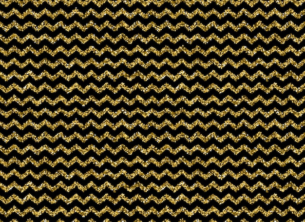 Gold glitter zigzag pattern on black background