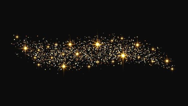 ゴールドのきらびやかな紙吹雪の波とスターダスト。暗い背景に黄金の魔法の輝き。ベクトルイラスト