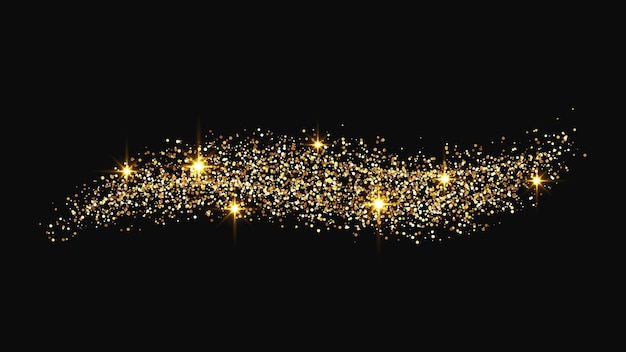 Gold glittering confetti wave and stardust. golden magical sparkles on dark background. vector illustration