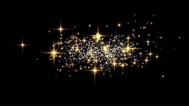 검은 배경에 금빛 빛나는 점, 반짝임, 입자 및 별.