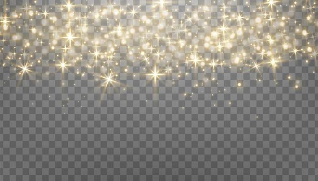 Золотые сверкающие точки, блестки, частицы на прозрачном фоне. абстрактный световой эффект. золотые светящиеся точки. векторная иллюстрация.