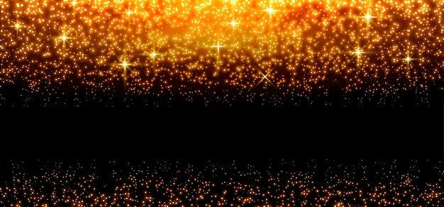 Gold glittering dots, sparkles, particles and stars on a black background. abstract light effect. gold luminous points. vector illustration.