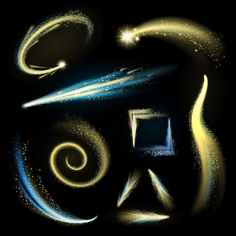 Gold glittering elements set with shining strokes and comets