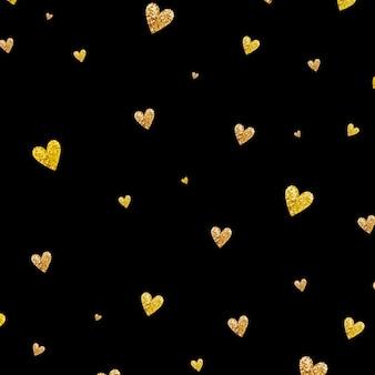 Gold glittering heart confetti seamless pattern on black background