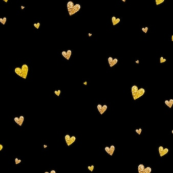검은 배경에 금 빛나는 심장 색종이 원활한 패턴