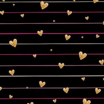줄무늬 바탕에 골드 빛나는 심장 색종이 원활한 패턴