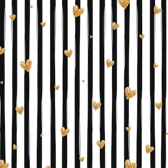 Gold glittering heart confetti seamless pattern on striped background. black and white