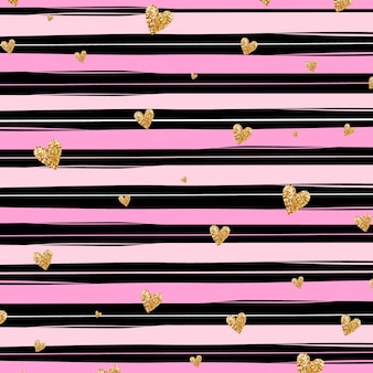 Gold glittering heart confetti seamless pattern on striped black and pink background