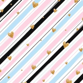 Gold glittering heart confetti seamless pattern on striped pink, blue, black background