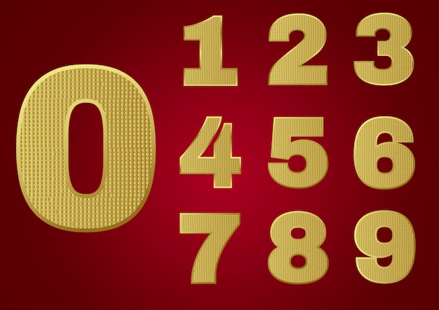 Gold glittering metal alphabet - numbers