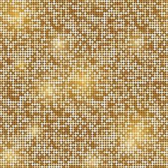 Gold glittering round mosaic seamless background