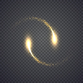 Gold glittering star dust lights circle. illustration isolated on background. graphic concept for your design