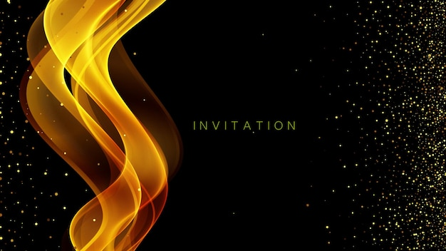 ゴールドラメ抽象的な招待状の背景。きらめきと黒の背景にゴールドウェーブ。ベクトル