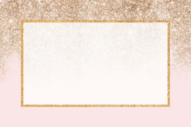 Gold glittery rectangle frame background