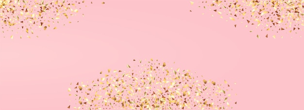Gold glow art panoramic pink background. shiny sequin invitation.