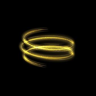 Золотое свечение световых эффектов звезд вспыхивает с изолированными блестками