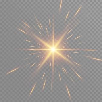 Золотое свечение частиц боке. эффект блеска. взрыв с блестками. золотые сверкающие блестки и звезды. Premium векторы