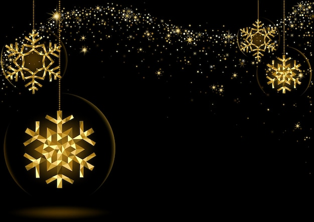 Gold glowing christmas snowflakes over black space with starry wave