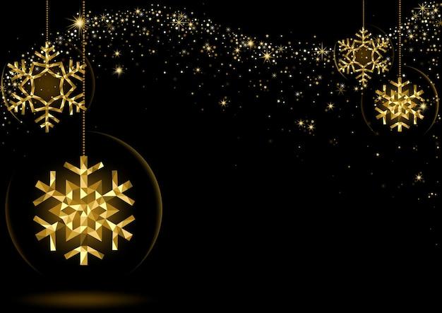 별이 빛나는 파도와 검은 공간 위에 금 빛나는 크리스마스 눈송이