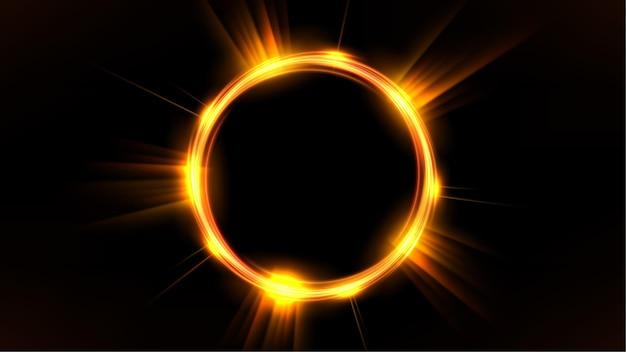 Gold glowing circle elegant illuminated light ring on dark background