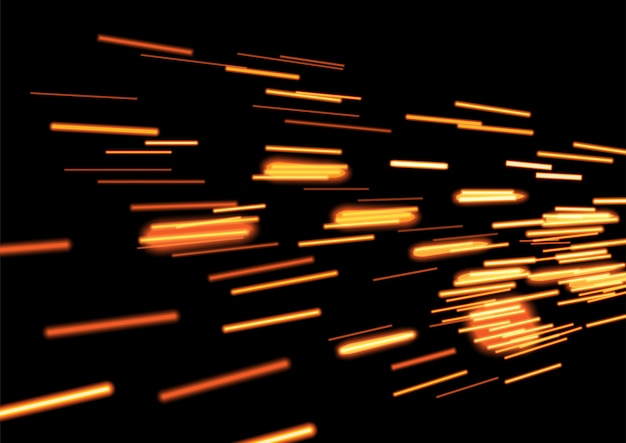 Gold glowing flying comet or spaceship trace on black background