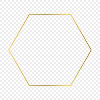투명 한 배경에 고립 된 골드 빛나는 육각형 프레임. 빛나는 효과와 빛나는 프레임. 벡터 일러스트 레이 션.