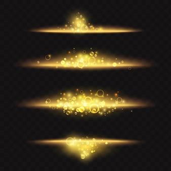 バナーデザインの明るいまぶしさのための金の輝く光の効果の魔法の光沢のある金色のダストライン